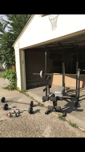 Home gym, squat rack, weights for Sale in Denver, CO