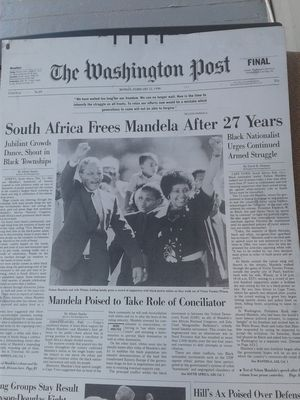 The metal plates from Washington Post on Monday February 12th 1990 Mandela and Winnie Mandela for Sale in Hyattsville, MD