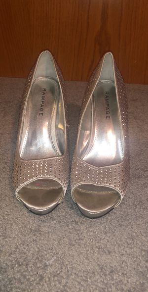 Prom silver heels shoes for Sale in Wichita, KS