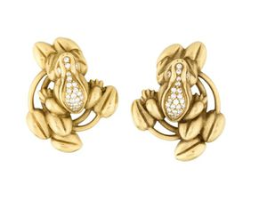 KIESELSTEIN-CORD 18K SOLID YELLOW GOLD & Diamond Frog Clip-On Earrings for Sale in IND CRK VLG, FL