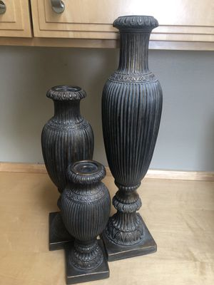 Set of 3 decorative candle holders for Sale in Damascus, OR