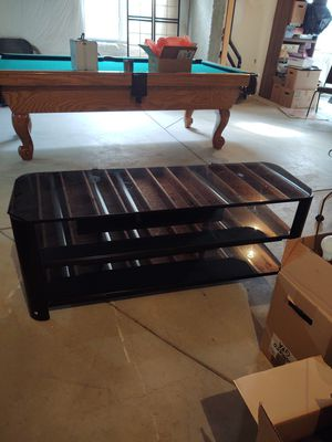 Glass and metal TV stand for 50in TV for Sale in Thornton, CO