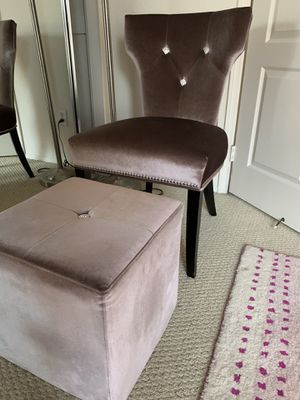Velvet gray chair with foot stool diamond accents for Sale in San Diego, CA
