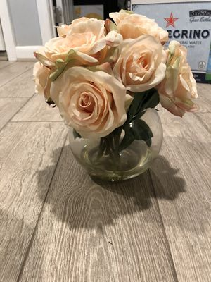 Faux flowers in glass vase for Sale in Baltimore, MD