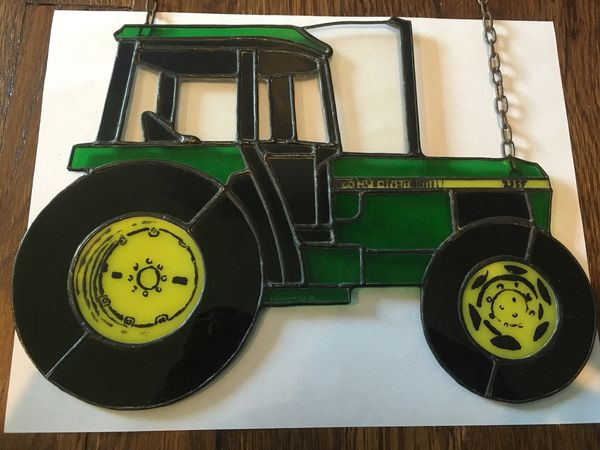 Stained glass John Deere tractor home decor
