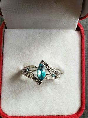Women luxury 925 sterling silver natural Gemstone diamond sea blue Topaz ring bridal wedding Engagement accessories ring size 9 for Sale in Moreno Valley, CA