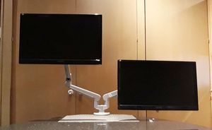 """Two ViewSonic 22"""" Full HD Monitors PLUS Dual Monitor Desk Mount Stand for Sale in Dallas, TX"""