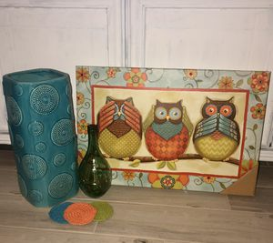Hoot owl bundle vases painting coasters beautiful decor for home for Sale in Orlando, FL