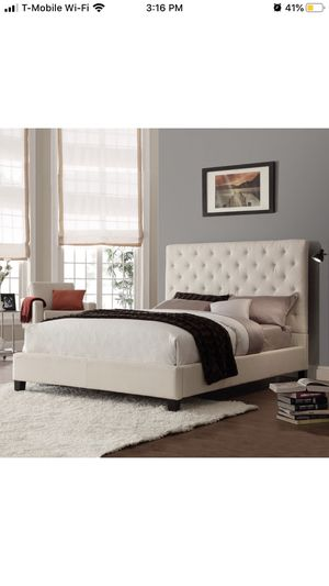 TRIBECCA Home Sophie Beige Fabric Tufted KING size Upholstered BED for Sale in Tracy, CA