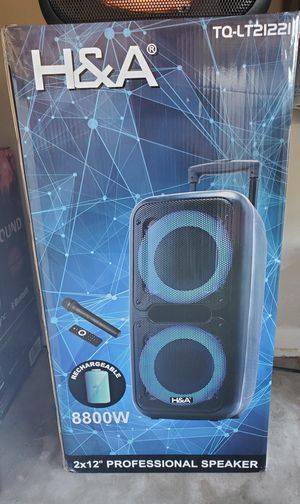 """New H&A 2x12 """" woofers 8,800 watts bluetooth, rechargeable, fm, usb, sd,wireless microphone, remote control and guitar inputs for Sale in Riverside, CA"""