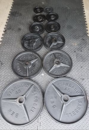 Olympic Weight Plates Full Set 245 Pounds for Sale in Naperville, IL