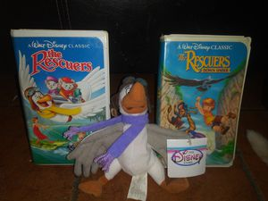 2 black diamond edition collectible vhs tapes the rescuers and the rescuers down under with plush toy for Sale in Lawndale, CA