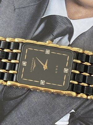 Longines Swiss made 14K Gold Plate Square Wrist Watch.4 Diamonds,unisex watch. Quartz movement and sapphire crysta. Original box and paperwork. for Sale in Pinecrest, FL