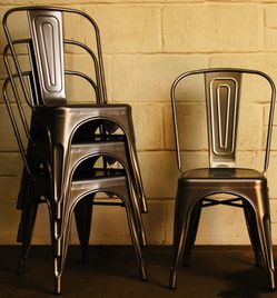 NEW $30 Each Metal Iron Steel Chair Black White or Gun Metal Color Stackable 340lb Weight Capacity Dining Indoor Outdoor Restaurant Chair for Sale in Covina,  CA