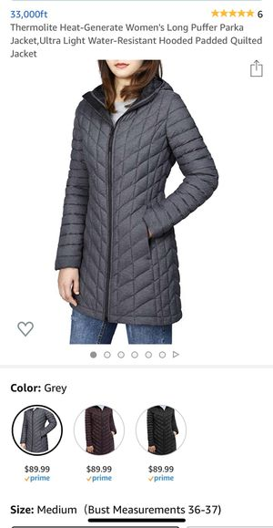 Brand new Thermolite Heat-Generate Women's Long Puffer Parka Jacket,Ultra Light Water-Resistant Hooded Padded Quilted Jacket for Sale in Arcadia, CA