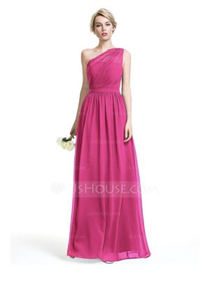 A-Line One-Shoulder Floor-Length Chiffon Bridesmaid Dress With Ruffle for Sale in Hialeah, FL