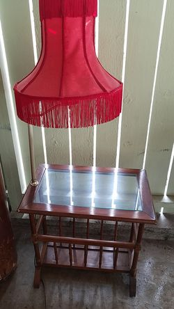 Lamp/glass topbtable/magazine rack for Sale in Sumner,  WA