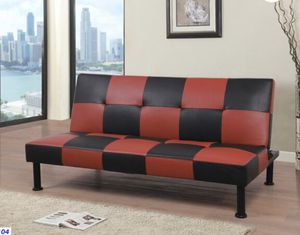 Futon/sofa bed black & red leatherette for Sale in Murphy, TX