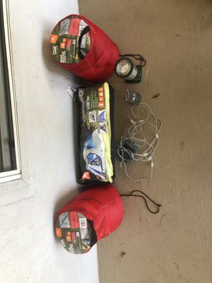 tent, sleeping bags, solar powered strand of lights perfect for inside tent, and bug repellent candle for Sale in Siloam Springs, AR