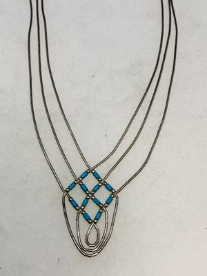 Sterling Silver Turquoise Liquid Silver Native Necklace for Sale in New Holland, PA