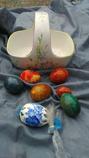 Teliflora made in China porcelain Easter basket with eggs for Sale in Tampa, FL