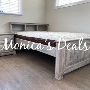 Full Size Solid Wood Bed W/Bamboo Mattress & Nightstand $440 for Sale in Pico Rivera, CA