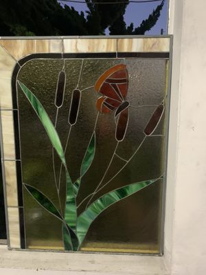 """Antique stain glass panel 24""""c 31-1/2"""" for Sale in Garden Grove, CA"""