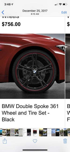 """PreOwned 20"""" OEM BMW DOUBLE SPOKE 361 BI-COLOR RED-BLACK F30 3 & 4 SERIES for Sale in Gilroy, CA"""