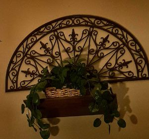 Two metal wall art pieces, shelving and plant with baskets for Sale in Santa Clarita, CA