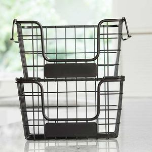 This multi-functional set of 2 stackable market baskets is perfect for any room in your home. From kitchen, pantry, bathroom, closet, playroom, or gar for Sale in Plantation, FL