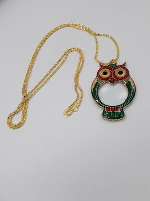 Gold toned owl glass magnifier necklace for Sale in Hemet, CA