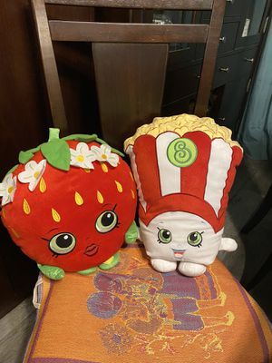 "Shopkins Poppy Corn and Strawberry Kiss 16"" large plush, $20 for BOTH for Sale in Tampa, FL"