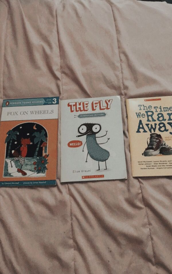 3 Easy starter books including (Fox On Wheels, The Fly, and The Time We Ran Away)
