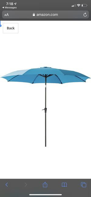 FLAME&SHADE 11 ft Outdoor Patio Umbrella with Tilt - Aqua Blue for Sale in Lemont, IL
