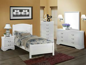 Brand new white or cherry twin bed frame + dresser + mirror + nightstand bedroom set for Sale in San Diego, CA