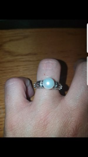 Sterling silver pearl and white sapphire ring size 7 for Sale in Baltimore, MD