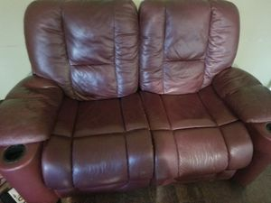 Burgundy leather sofa recliner/loveseat for Sale in Dinuba, CA