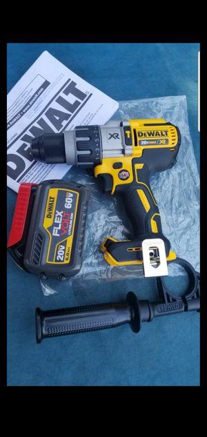 DEWALT 20-VOLT MAX XR LITHIUM ION BRUSHLESS CORDLES 3-SPEED HAMMER DRILL WITH FLEXVOLT 6.0AH BATTERY for Sale in San Bernardino, CA