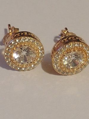 Rozzato Sterling Silver with Rose Gold Stud Earrings for Sale, used for sale  Atlanta, GA
