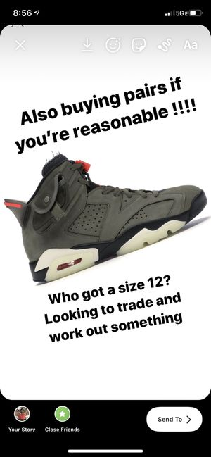 Buying and trading for Travis 6 Jordan's with receipts for Sale in Chesapeake, VA