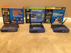 Linksys Cable and wireless routers. for Sale in Elkridge, MD