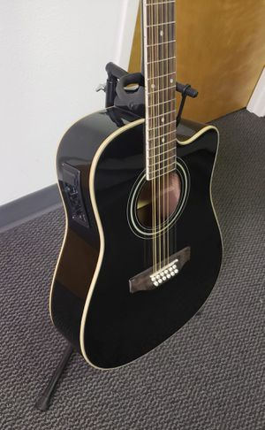 12 String Acoustic Electric Black Guitar Combo with Gig Bag & Accesories Guitarra Electrica Acústica Docerola 12 Cuerdas for Sale in Mesa, AZ