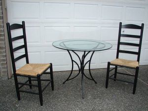 Round Glass Table 2 Black Ladder Back Chair Natural Rush Woven Seats for Sale in Mill Creek, WA