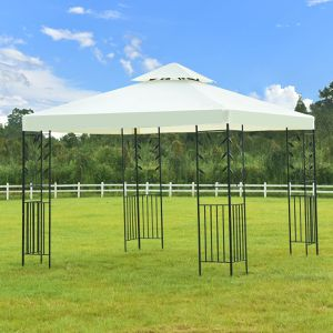 Free delivery - White Outdoor Patio Table Metal Gazebo Steel Frame Vented Garden Canopy Backyard Sun Shed Shade Wedding for Sale in Irvine, CA