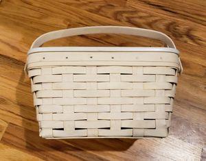 Longaberger whitewash Basket with wood lid for Sale in Los Gatos, CA