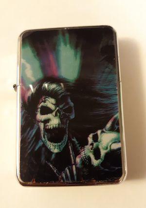 New wicked skull skeleton rocker rock star windproof oil lighter similar to zippo for Sale in Lancaster, OH
