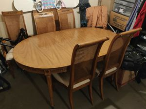 Authentic antique dinning set. Table and 6 chairs. Table has 2 additional parts to extend into 8 or 10 people table size. for Sale in Arlington Heights, IL