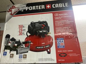 Brand new porter cable 6 gallon air compressor set with 3 nailers and hose only asking $260 for Sale in La Habra, CA