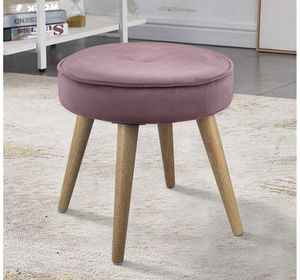 Ottoman Stool Velvet Side Table Seat, Makeup Dressing Stool with Wooden Legs for Living Room, Bedroom, Small Space Room, Office (Pink) for Sale in Rancho Cucamonga, CA