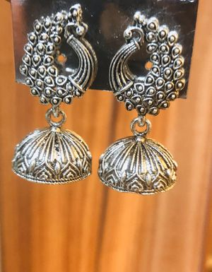New Silver tone oxidized Peacock statement earrings/ Indian jhumki for Sale in Schaumburg, IL